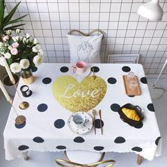 2018新款网红居家棉麻餐桌布 140*100cm 爱心波点