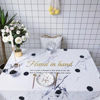 2018新款网红居家棉麻餐桌布 140*100cm 波点大理石纹