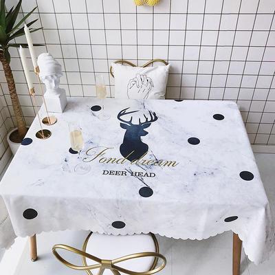 2018新款网红居家棉麻餐桌布 140*100cm 大理石纹鹿角