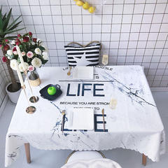 2018新款网红居家棉麻餐桌布 140*100cm 大理石纹字母白