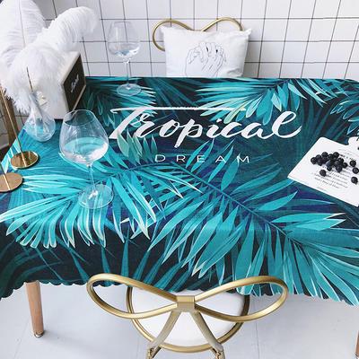 2018新款网红居家棉麻餐桌布 140*100cm 热带雨林