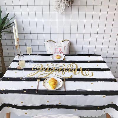 2018新款网红居家棉麻餐桌布 140*100cm 条纹