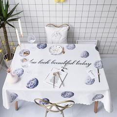2018新款网红居家棉麻餐桌布 140*100cm 月球