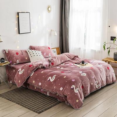 2018新款保暖牛奶绒套件四件套(床裙款) 1.5m-1.8m床 床裙款 草莓火烈鸟