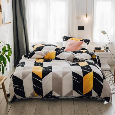 2018新款保暖牛奶绒套件四件套(床裙款) 1.5m-1.8m床 床裙款 大理石纹彩块