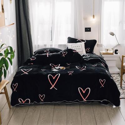 2018新款保暖牛奶绒套件四件套(床裙款) 1.5m-1.8m床 床裙款 黑底爱心