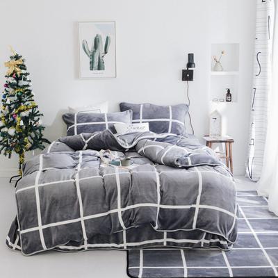 2018新款保暖牛奶绒套件四件套(床裙款) 1.5m-1.8m床 床裙款 灰大格