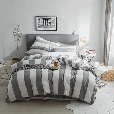 2018新款保暖牛奶绒套件四件套(床裙款) 1.5m-1.8m床 床裙款 灰条纹