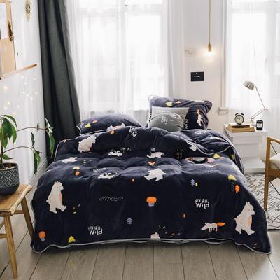 2018新款保暖牛奶绒套件四件套(床裙款) 1.5m-1.8m床 床裙款 萌熊