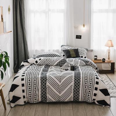 2018新款保暖牛奶绒套件四件套(床裙款) 1.5m-1.8m床 床裙款 民族风