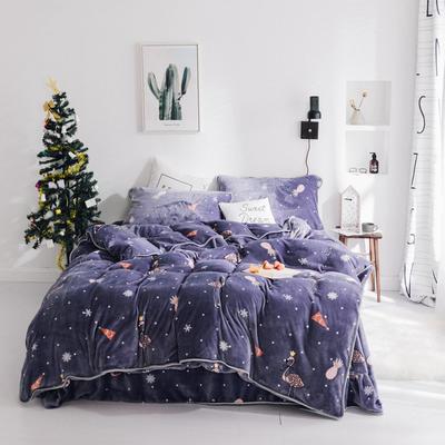 2018新款保暖牛奶绒套件四件套(床裙款) 1.5m-1.8m床 床裙款 圣诞火烈鸟