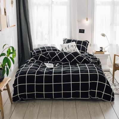2018新款保暖牛奶绒套件四件套(床裙款) 1.5m-1.8m床 床裙款 时尚格黑