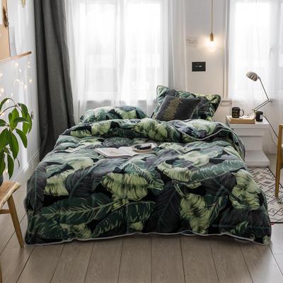 2018新款保暖牛奶绒套件四件套(床裙款) 1.5m-1.8m床 床裙款 网红植物