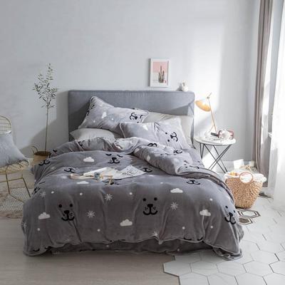 2018新款保暖牛奶绒套件四件套(床裙款) 1.5m-1.8m床 床裙款 雪花熊