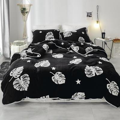 2018新款保暖牛奶绒套件四件套(床裙款) 1.5m-1.8m床 床裙款 芭蕉叶