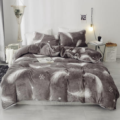 2018新款保暖牛奶绒套件四件套(床裙款) 1.5m-1.8m床 床裙款 雪花羽毛