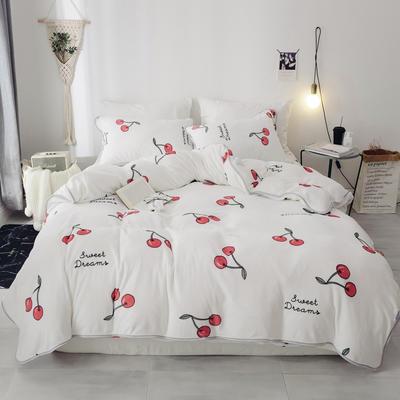 2018新款保暖牛奶绒套件四件套(床裙款) 1.5m-1.8m床 床裙款 樱桃