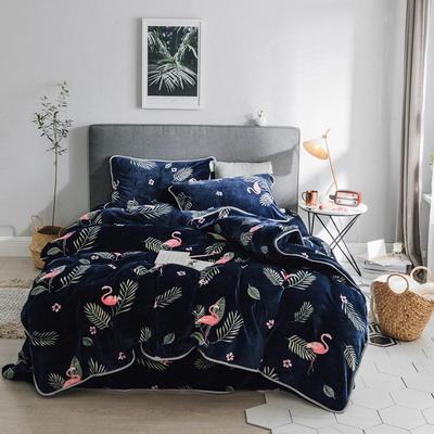 2018新款保暖牛奶绒套件四件套(床裙款) 1.5m-1.8m床 床裙款 植物火烈鸟