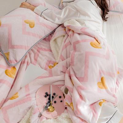 2018新款北欧简约风保暖牛奶羊羔绒毯 200cmx230cm 烫金爱心