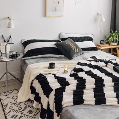 2018新款北欧简约风保暖牛奶羊羔绒毯 150cmx200cm 条纹