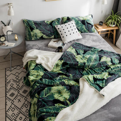 2018新款北欧简约风保暖牛奶羊羔绒毯 150cmx200cm 网红植物