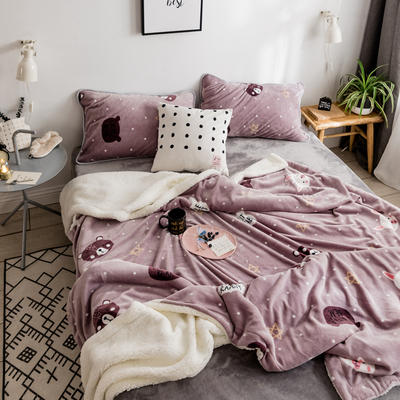 2018新款北欧简约风保暖牛奶羊羔绒毯 200cmx230cm 小熊