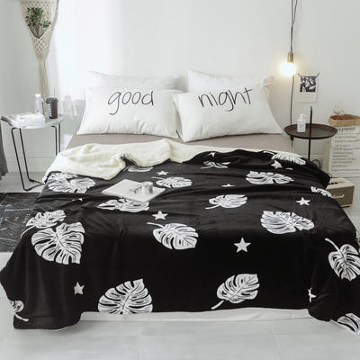 2018新款北欧简约风保暖牛奶羊羔绒毯 200cmx230cm 龟背竹