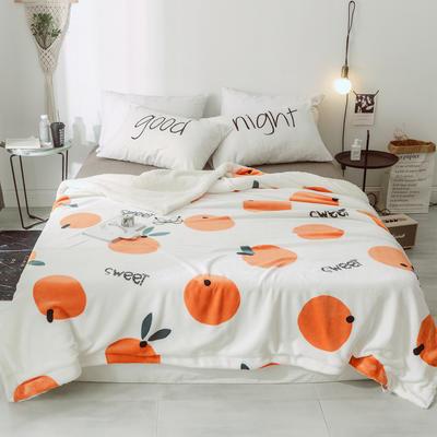 2018新款北欧简约风保暖牛奶羊羔绒毯 200cmx230cm 橘子