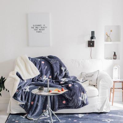 2018新款北欧简约风保暖牛奶羊羔绒毯 150cmx200cm 雪花仙人掌