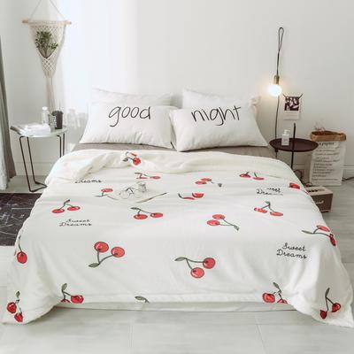 2018新款北欧简约风保暖牛奶羊羔绒毯 150cmx200cm 樱桃