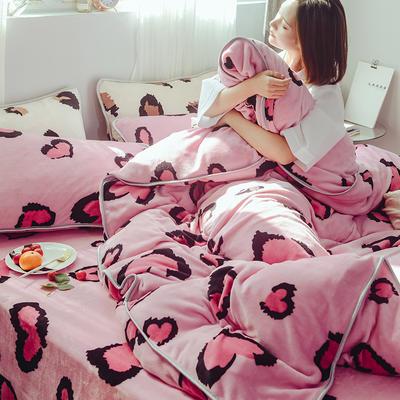 2019牛奶絨豹紋系列四件套床裙款 1.5m(5英尺)床 床裙款 愛心粉豹紋