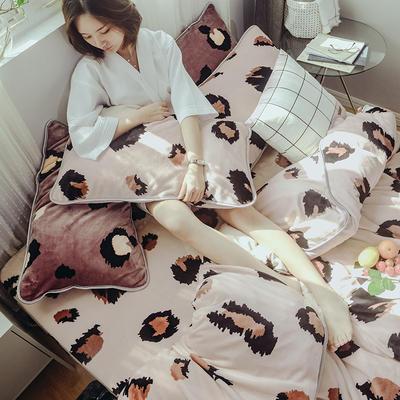 2019牛奶绒豹纹系列四件套床裙款 1.5m(5英尺)床 床裙款 米豹纹