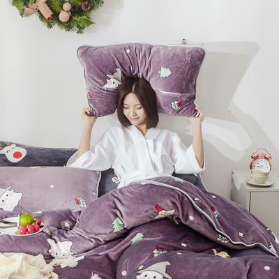 2018新款牛奶絨圣誕款四件套床裙款 1.5m(5英尺)床 床裙款 圣誕精靈