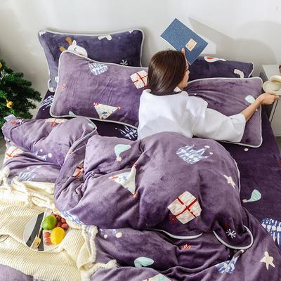 2018新款牛奶绒圣诞款四件套床裙款 1.5m(5英尺)床 床裙款 圣诞礼物