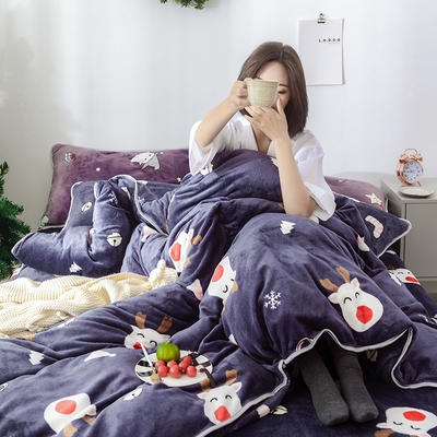 2018新款牛奶绒圣诞款四件套床裙款 1.8m(6英尺)床 床裙款 圣诞小鹿