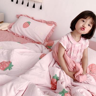 2019新款ins小清新水洗棉夏被套件 150x200cm三件套 甜心草莓