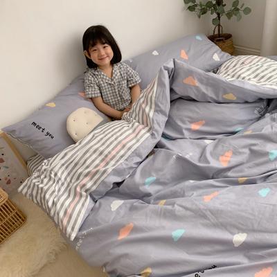 2019新款13070(40支)纯棉套件四件套 1.2m(4英尺)床(三件套) 彩色云朵
