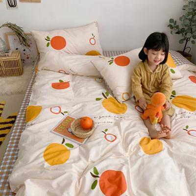 2019新款13070(40支)纯棉套件四件套 1.2m(4英尺)床(三件套) 橘子
