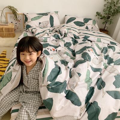 2019新款13070(40支)纯棉套件四件套 1.2m(4英尺)床(三件套) 绿植园