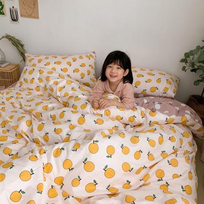 2019新款13070(40支)纯棉套件四件套 1.2m(4英尺)床(三件套) 米白桔子