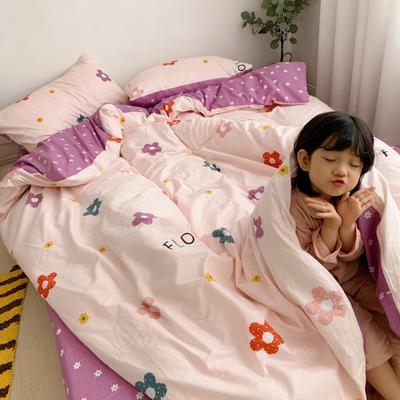 2019新款13070(40支)纯棉套件四件套 1.2m(4英尺)床(三件套) 泫雅花 粉