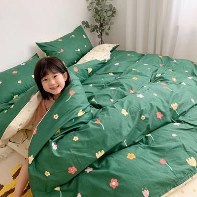 2019新款13070(40支)纯棉套件四件套 1.8m(6英尺)床 泫雅花 绿