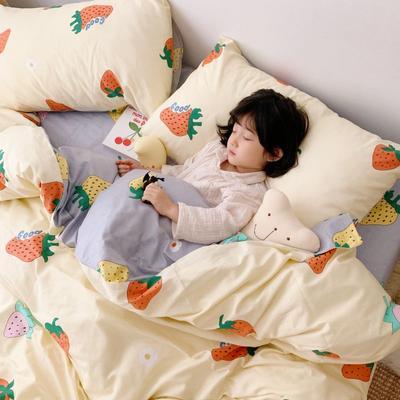 2019新款13070(40支)纯棉套件四件套 1.2m(4英尺)床(三件套) 草莓物语