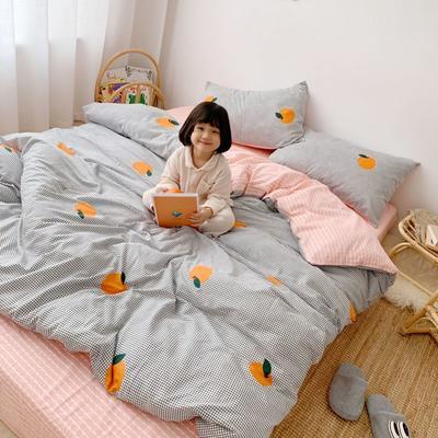 2019新款13070(40支)纯棉套件四件套 1.2m(4英尺)床(三件套) 格子橙