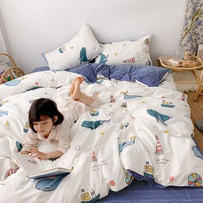 2019新款13070(40支)纯棉套件四件套 1.2m(4英尺)床(三件套) 海军风