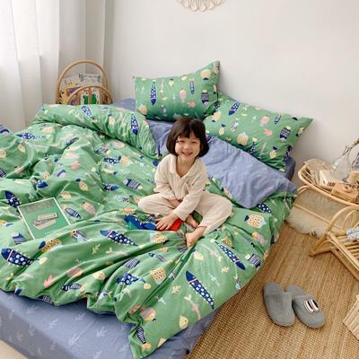 2019新款13070(40支)纯棉套件四件套 1.2m(4英尺)床(三件套) 好多鱼绿