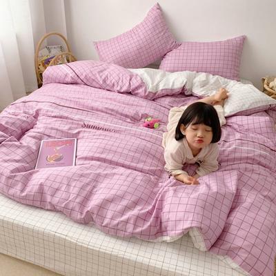 2019新款13070(40支)纯棉套件四件套 1.2m(4英尺)床(三件套) 简约格子