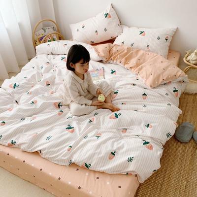 2019新款13070(40支)纯棉套件四件套 1.2m(4英尺)床(三件套) 奶油草莓