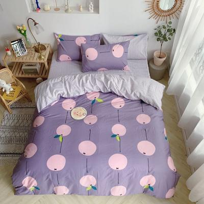 2019新款13070(40支)纯棉套件四件套 1.2m(4英尺)床(三件套) 柿饼