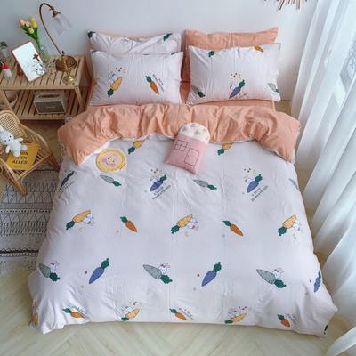 2019新款13070(40支)纯棉套件四件套 1.2m(4英尺)床(三件套) 兔子萝卜
